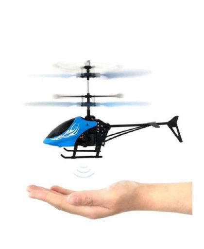 Flying Helicopter Palm Control Hand Gesture Flying Helicopter Palm Control Hand Gesture. Flying Helicopter reacts on the movement and positioning of your hand due to its infrared sensors. If you move your hands to the side, the toy will follow. As soon as you remove your hands from under it, the toy will land. It is rechargeable via USB cable. The toy has a simple On/Off option and an LED light that flashes on with the toy. The Helicopter shape makes it more attractive and fun for your kids, who when once learn how to smoothly operate it, will refuse to let it go for hours! KEY FEATURES Flying Helicopter Color: Blue Premium Quality Palm Control Move upward & downward USB Rechargeable