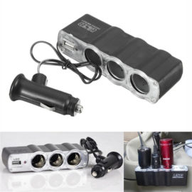 Auto Car 3 Way Multi Socket Cigarette Lighter USB Plug Adapter Port Charger Auto Car 3 Way Multi Socket Cigarette Lighter USB Plug Adapter Port Charger. High quality ABS Fireproof Plastic, Built-in fuse,safe and reliable. Usb charger output to DC 5V/500MA. Triple socket with 12V/24V output. This socket can only be used for car cigarette lighter. Features: USB charger output 5V/500mA, suitable for cellphone, GPS, iPod, and PDA Designing integrative and more convenient to use Flexible type cigarette plugs and suitability is much stronger Also being used as the common charger Easy to install, confirm the suitable place to install, do not install in any position obstructs driving and operation of air bag When the car stop operation for a long time, should take the plug out from the socket of the car to prevent the battery from being runaway Fit for most all cars DC 12V cigarette lighter socket Input voltage: DC 12V/DC 24V Output current: Max. DC 5A (except USB) USB output voltage/current: DC 5V~Max 5.4V/500mA Working temperature: 0Degree~ 60Degree Color: black Specifications: Input voltage: DC 12V / DC 24V Output current: Max DC 5A (except USB) Total output power: 60W (except USB) Material: ABS flame retardant plastic Size:12cm x 2.5cm x 4cm Cable length: 65cm Package Contains: 1 x 3 Way Car Cigarette Charger Socket Adapter+USB Precautions: 1.The total current of the three sockets can not exceed 5A USb the current can not exceed 500ma. 2.Unplug the power distributor from the cigarette lighter when leaving the car. 3.Do not make the power distributor load more than 10Amp. Note:Please allow 1-2mm errors due to manual measurement. Item color displayed in photos may be showing slightly different on your computer monitor since monitors are not calibrated same.