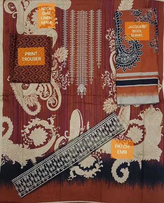 khaddi Linen Suit Collection 2018 For Women 3pcs (1)