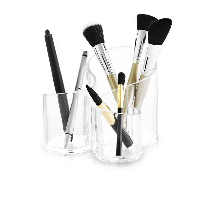 3 compartment acrylic makeup brush holder transparent online shopping in pakistan. Black Bedroom Furniture Sets. Home Design Ideas
