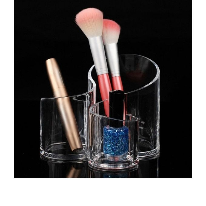 Compartment Acrylic Makeup Brush Holder