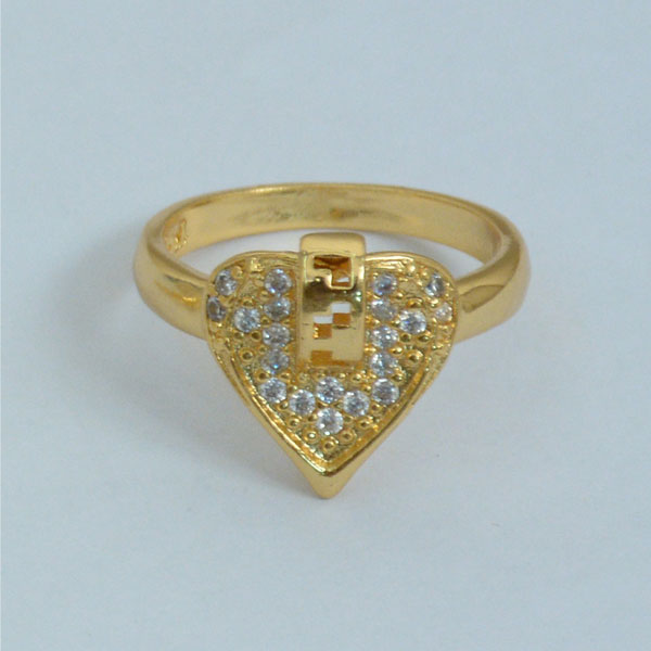 Diamond Heart Gold Plated Ring