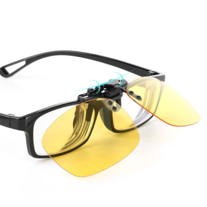 Yellow Night Vision Polarized Clip-on Flip Sunglasses Driving Eyewear Yellow Night Vision Polarized Clip-on Flip Sunglasses Driving Eyewear. The Careview Polarized Clip-on Flip-up AVIATOR Sunglasses, Make your glasses becomes Cool Fashion Aviator Sunglasses. Night vision driving glasses,special purpose polarized lenses helpful for your safe driving at night.Just clip the products on your eyeglasses that will be ok,very easy. The care view Polarized Clip will give you better view when you driving, fishing and other outdoor activities. Improve your vision, reduce glare, and sharpen your eye sight at night with these clip on night vision lenses. Driving at night can be more dangerous than driving in the day, especially when on coming headlight are very bright. Features & Advantages Anti-reflective lens Polarized Lens width: 2.28 inches NIGHT VISION:See at Night- Yellow lens features night viewing IMPROVE YOUR VISION:Improve your vision, reduce glare, and sharpen your eye sight at night with these clip on night vision lenses.Polarized lens reduces glare and reflections, great for night driving, and any outdoor activities.Reduce the impact of the headlight beams and let your eyes adjust back to the dark road faster. PROTECT YOUR VISION:Ultra lightweight and highly scratch resistant lens offers maximum protection from harmful Sun UV Rays! FASHION DESIGN:New design leg profile to fit both metal and plastic frames Soft rubber Legs have proprietary coating to protect ophthalmic lenses and prevent shifting and scratching Easy TO OPERATE:Convenient one hand application to Prescription frames with positive indexing lens positions,Clip on your Prescription Glasses -Fits both metal and plastic frames, no need to buy expensive prescription sunglasses. Product Dimensions 1.Lens Height-1.49in(38mm) 2.Lens Width-2.28in(58mm) 3.Bridge-0.70(18mm) 4.Frame Total-in(134mm) Kindly Tip : Please be reminded that due lighting effects, monitor's brightness/contrast settings etc, there could be