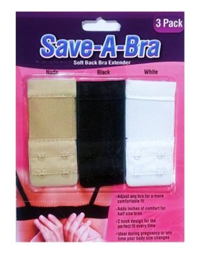 Save a Bra Soft Back Bra Extender Save a Bra Soft Back Bra Extender. Save-A-Bra Soft Back Bra Extender, three-pack with three different colors: nude, black and white. Simply attach the Save-A-Bra to any tight or ill-fitting bra hooks for a better fitting and tighter bra. The 2 hook design allows for greater customization and fit for any bra. Just hook the Save-A-Bra hooks to your regular bra hooks and extend. The hooks and loops are on 3/4 inch centers apart. The wire loops have a 1/8 inch inside width to fit a 1/8 inch wide hook. Machine Washable. KEY FEATURES Adjust Any Bra for A More Comfortable Fit Adds Inches of Comfort for Half Size Bras 2 Hook Design for A Perfect Fit Every time Ideal During Pregnancy or Any Time Your Body Size Changes Included Colors: Nude, Black & White (1 Each) PACKAGE  INCLUDE 3 X BRA EXTENDER BLACK,WHITE, SKIN Benevolently Tip : If it's not too much trouble be reminded that due lighting impacts, screen's splendor/differentiate settings and so on, there could be some slight contrasts in the shading tone of the site's photograph and the genuine thing.new bra design 2018. Thing Measure by hand, it could be 0.5-1cm extraordinary. trust you can understanding, will be truly valued.