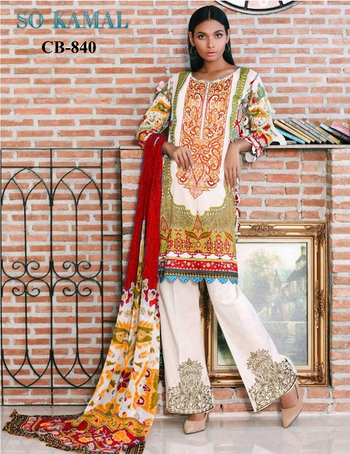 97b565895b So kamal linen Lawn Suit Collection 2018 For Women – 3Pcs | online ...