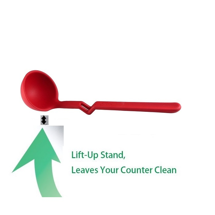 Nonstick Silicone Heat-Resistant Kitchen Spoon WITH LIFT UP STAND