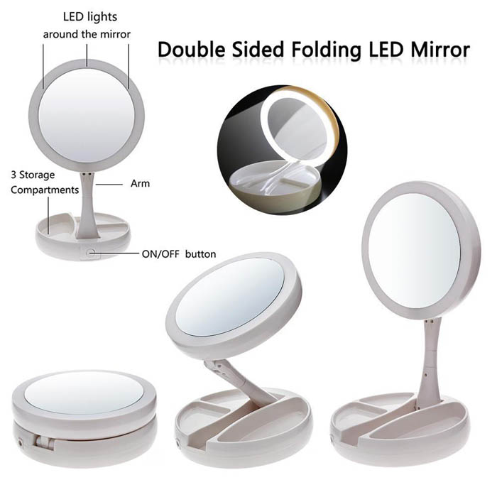 My Fold-Away Mirror Lighted Double Sided Vanity Makeup Mirror LED illuminated
