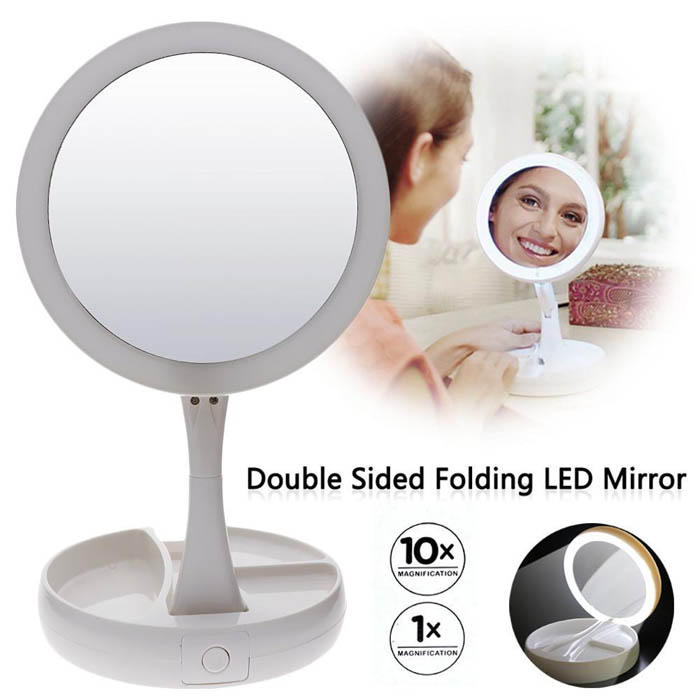 My Fold Away Mirror Lighted Double Sided Vanity Makeup Mirror
