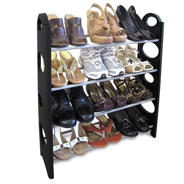 Stackable 12 Pairs Shoe Rack Organizer ,4 Layer Shoe Rack